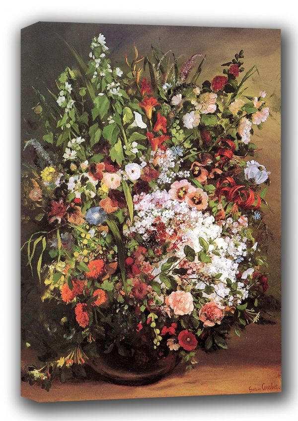 Courbet, Gustave: Flowers in a Vase. Floral Fine Art Canvas. Sizes: A3/A2/A1 (001040)